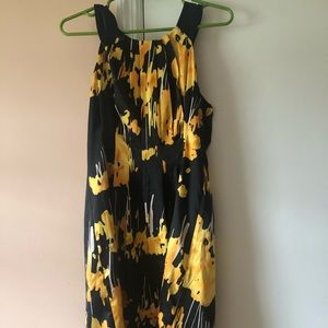 Colorful black and yellow sleeveless dress